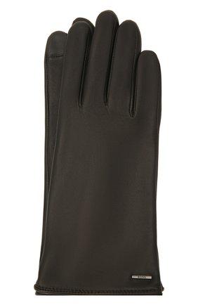 Женские кожаные перчатки BOSS черного цвета, арт. 50437288 | Фото 1