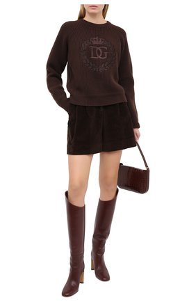 Женские хлопковые шорты DOLCE & GABBANA темно-коричневого цвета, арт. FTBWPT/FUWC5 | Фото 2