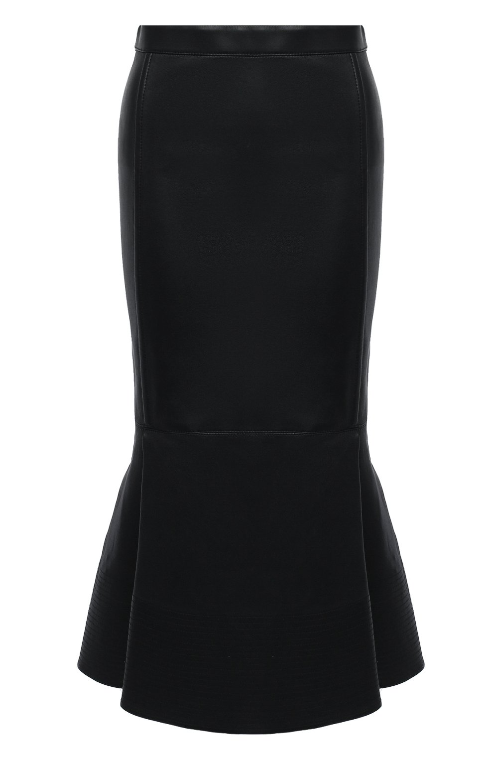 Женская кожаная юбка VALENTINO черного цвета, арт. UB0NI07P4N2 | Фото 1