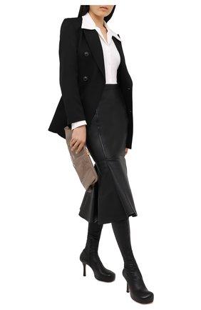 Женская кожаная юбка VALENTINO черного цвета, арт. UB0NI07P4N2 | Фото 2