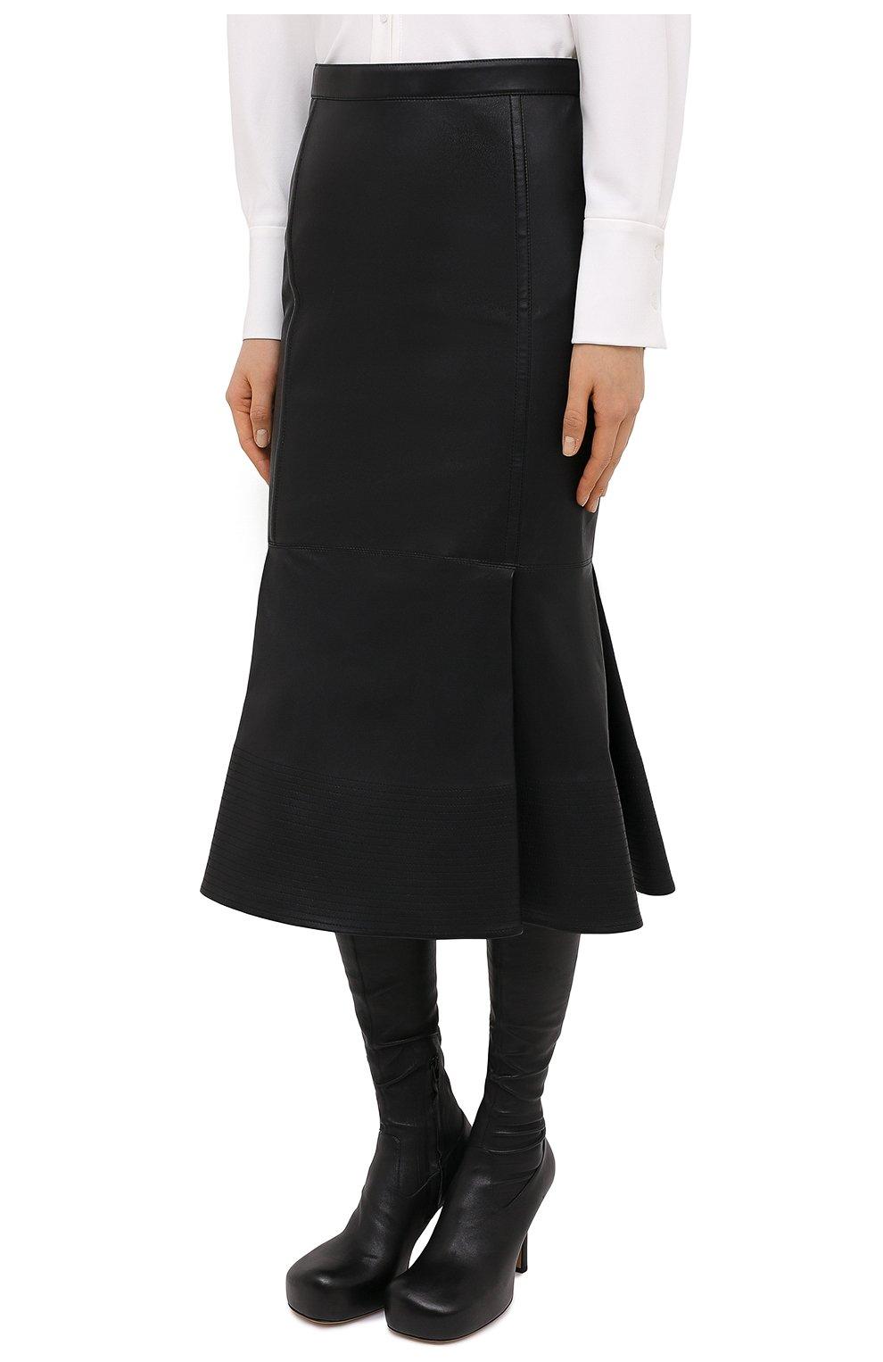 Женская кожаная юбка VALENTINO черного цвета, арт. UB0NI07P4N2 | Фото 3