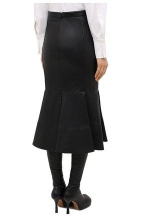 Женская кожаная юбка VALENTINO черного цвета, арт. UB0NI07P4N2 | Фото 4