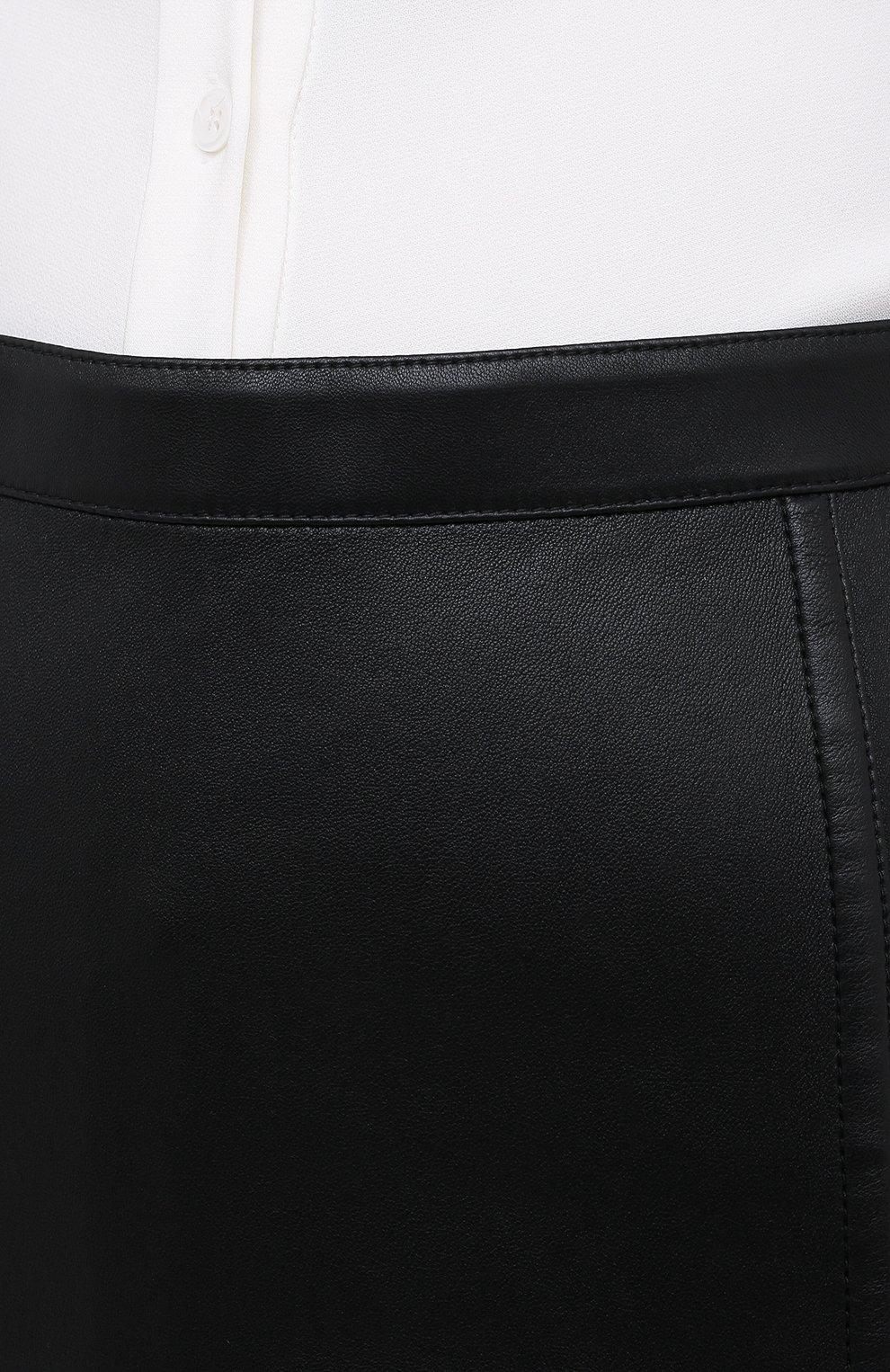 Женская кожаная юбка VALENTINO черного цвета, арт. UB0NI07P4N2 | Фото 5