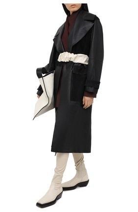 Женский кожаный пояс JIL SANDER кремвого цвета, арт. JSPR800056-WRS01016 | Фото 2 (Кросс-КТ: Широкие)