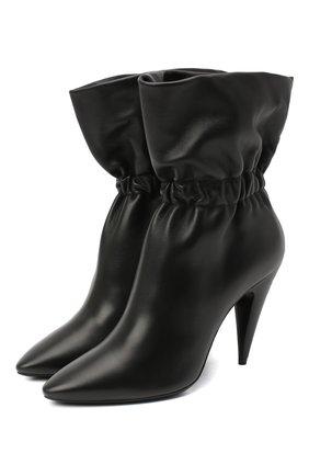 Женские кожаные ботильоны SAINT LAURENT черного цвета, арт. 639609/1Y800 | Фото 1