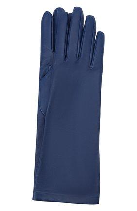 Женские кожаные перчатки SAINT LAURENT темно-синего цвета, арт. 639505/3YA26 | Фото 1