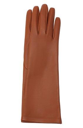 Женские кожаные перчатки SAINT LAURENT коричневого цвета, арт. 639505/3YA26 | Фото 1