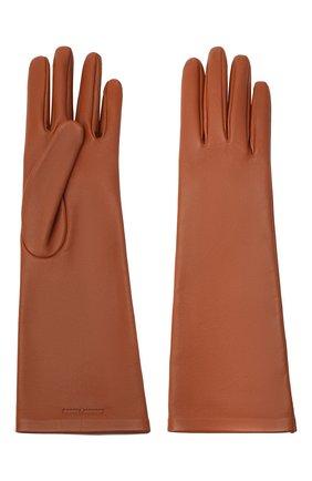 Женские кожаные перчатки SAINT LAURENT коричневого цвета, арт. 639505/3YA26 | Фото 2