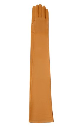 Женские кожаные перчатки SAINT LAURENT светло-коричневого цвета, арт. 639504/3YA26 | Фото 1