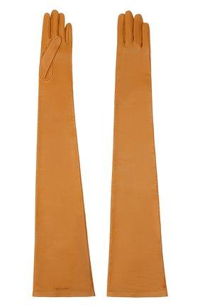 Женские кожаные перчатки SAINT LAURENT светло-коричневого цвета, арт. 639504/3YA26 | Фото 2