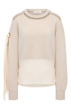 Женский кашемировый свитер CHLOÉ бежевого цвета, арт. CHC20WMP21500   Фото 1