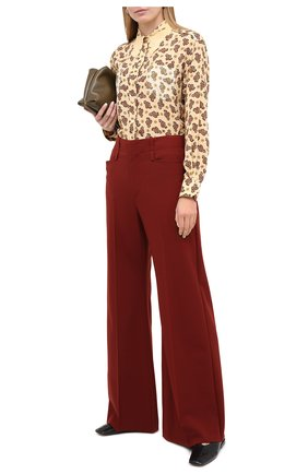 Женские шерстяные брюки CHLOÉ коричневого цвета, арт. CHC20WPA06062   Фото 2