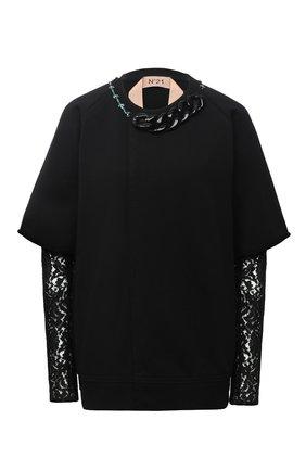 Женская свитшот N21 черного цвета, арт. 20I N2S0/E041/4100 | Фото 1