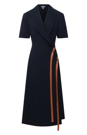 Женское шерстяное платье LOEWE темно-синего цвета, арт. S359335XB8 | Фото 1