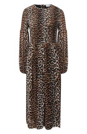Женское платье из вискозы GANNI леопардового цвета, арт. F5104 | Фото 1