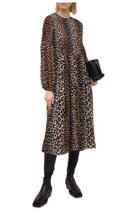 Женское платье из вискозы GANNI леопардового цвета, арт. F5104 | Фото 2