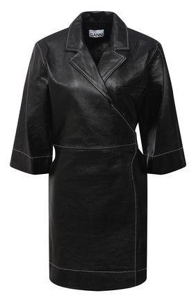 Женское кожаное платье GANNI черного цвета, арт. F5200 | Фото 1