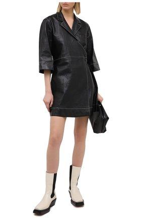 Женское кожаное платье GANNI черного цвета, арт. F5200 | Фото 2