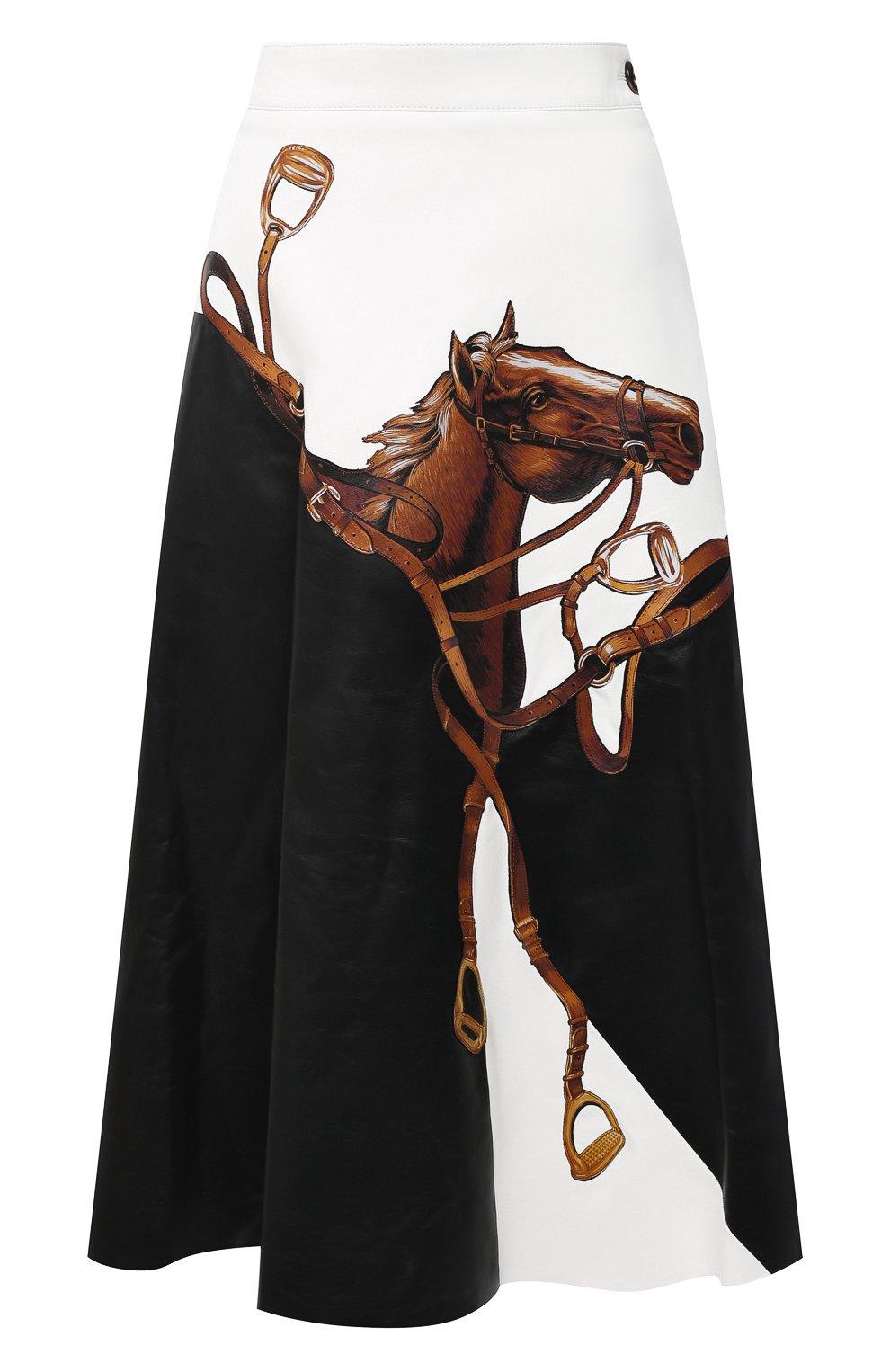 Женская кожаная юбка RALPH LAUREN черного цвета, арт. 290820371 | Фото 1