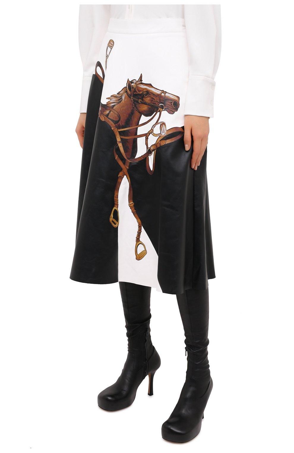 Женская кожаная юбка RALPH LAUREN черного цвета, арт. 290820371 | Фото 3