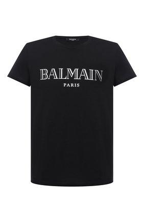 Мужская хлопковая футболка BALMAIN черного цвета, арт. UH11601/I312 | Фото 1