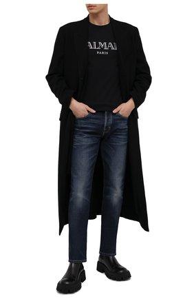 Мужская хлопковая футболка BALMAIN черного цвета, арт. UH11601/I312 | Фото 2