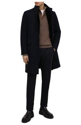 Мужской шерстяное пальто Z ZEGNA темно-синего цвета, арт. 877031/42PCS0 | Фото 2 (Материал утеплителя: Пух и перо, Натуральный мех; Материал внешний: Шерсть, Кашемир; Длина (верхняя одежда): До середины бедра; Рукава: Длинные; Мужское Кросс-КТ: пальто-верхняя одежда, Верхняя одежда; Стили: Классический)