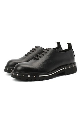 Мужские кожаные оксфорды ATTIMONELLI'S черного цвета, арт. AA435   Фото 1