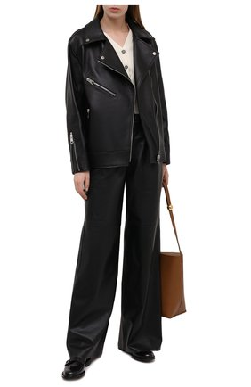 Женские кожаные брюки MASLOV черного цвета, арт. BR101 | Фото 2