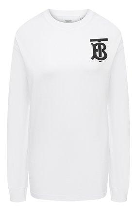 Женская лонгслив BURBERRY белого цвета, арт. 8024341 | Фото 1