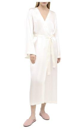 Женский шелковый халат LUNA DI SETA бежевого цвета, арт. L6K7049 | Фото 2