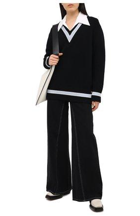 Женский шерстяной свитер BURBERRY черного цвета, арт. 8036072 | Фото 2