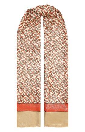 Женский шарф из кашемира и шелка BURBERRY оранжевого цвета, арт. 8035717 | Фото 1 (Материал: Кашемир, Шерсть; Принт: С принтом)