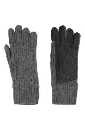 Женские шерстяные перчатки BURBERRY серого цвета, арт. 8036242 | Фото 2