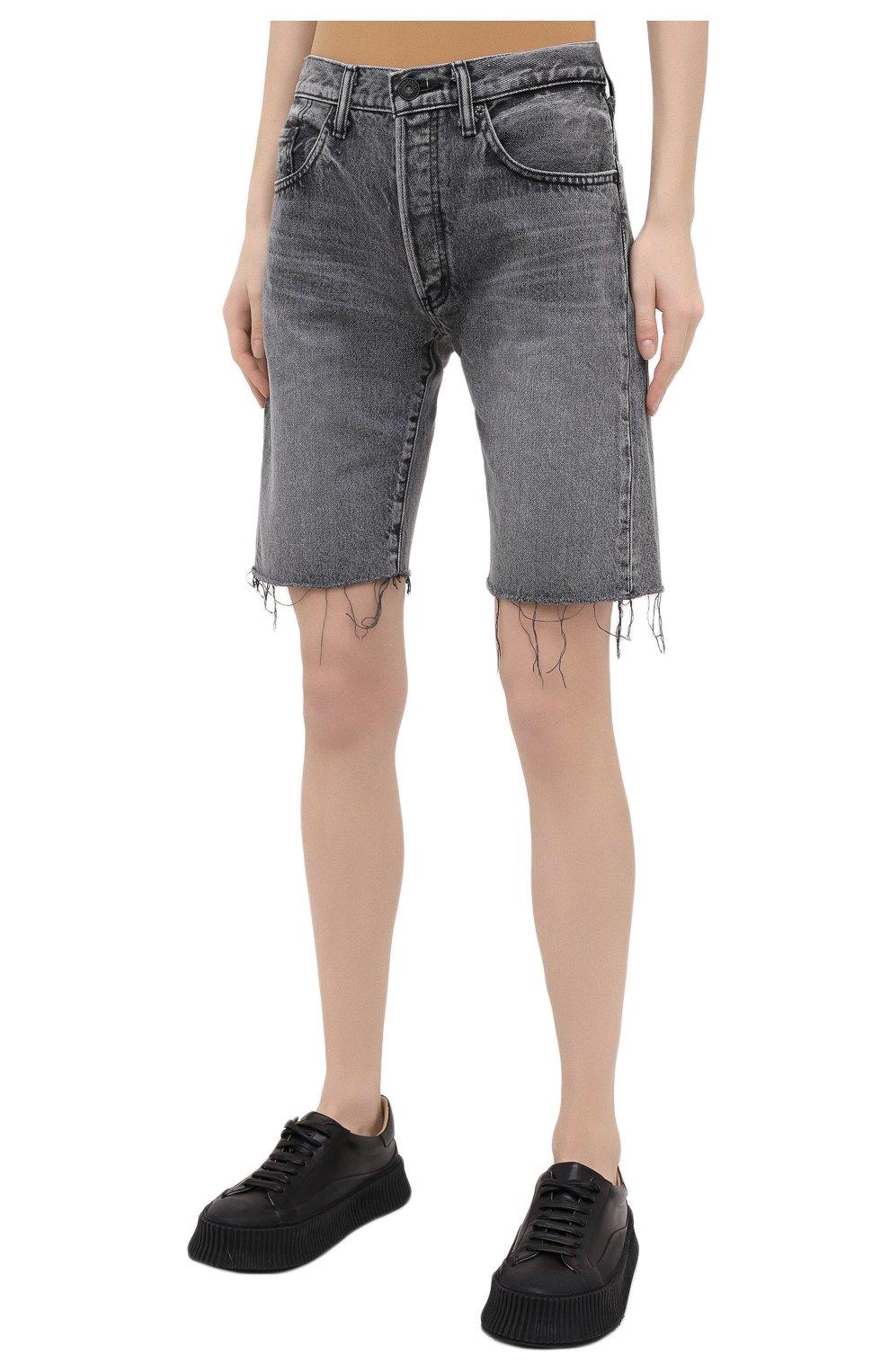 Женские джинсовые шорты MOUSSY серого цвета, арт. 025DAC11-1120 | Фото 3 (Женское Кросс-КТ: Шорты-одежда; Кросс-КТ: Деним; Стили: Гранж; Материал внешний: Хлопок, Деним; Длина Ж (юбки, платья, шорты): До колена)
