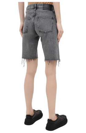 Женские джинсовые шорты MOUSSY серого цвета, арт. 025DAC11-1120 | Фото 4 (Женское Кросс-КТ: Шорты-одежда; Кросс-КТ: Деним; Стили: Гранж; Материал внешний: Хлопок, Деним; Длина Ж (юбки, платья, шорты): До колена)