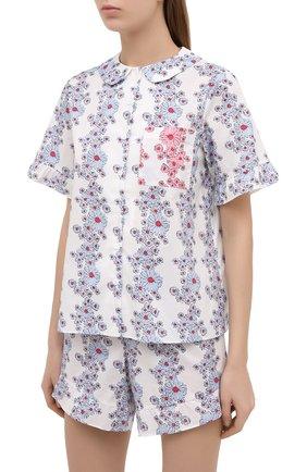 Женская хлопковая пижама YOLKE белого цвета, арт. SS21-40C-BL-C0 | Фото 2