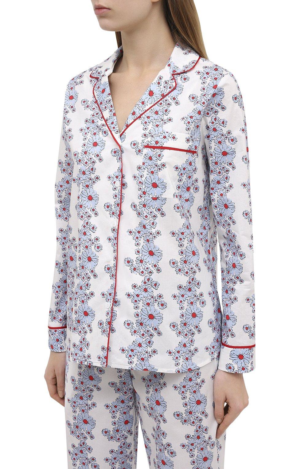 Женская хлопковая пижама YOLKE светло-голубого цвета, арт. SS21-02C-BL-C0   Фото 2 (Рукава: Длинные; Длина Ж (юбки, платья, шорты): Мини; Длина (брюки, джинсы): Стандартные; Длина (для топов): Стандартные; Материал внешний: Хлопок)