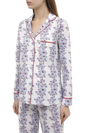 Женская хлопковая пижама YOLKE белого цвета, арт. SS21-02C-BL-C0 | Фото 2