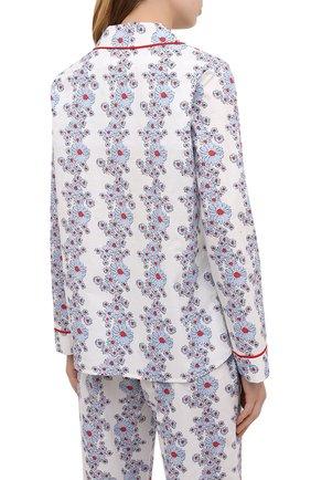 Женская хлопковая пижама YOLKE светло-голубого цвета, арт. SS21-02C-BL-C0   Фото 3 (Рукава: Длинные; Длина Ж (юбки, платья, шорты): Мини; Длина (брюки, джинсы): Стандартные; Длина (для топов): Стандартные; Материал внешний: Хлопок)
