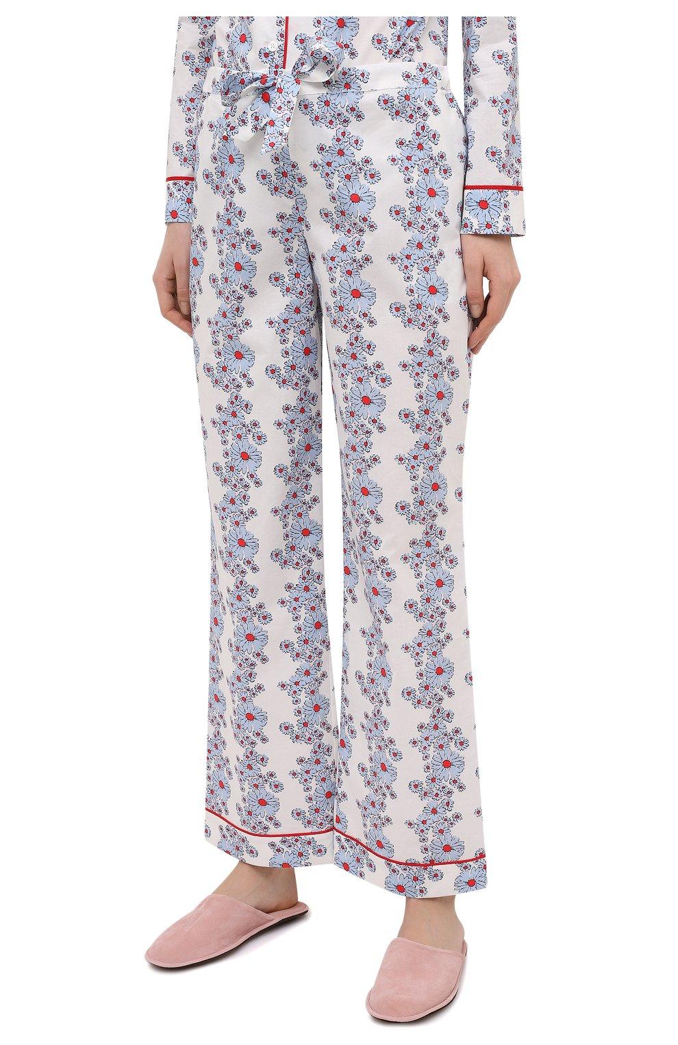 Женская хлопковая пижама YOLKE светло-голубого цвета, арт. SS21-02C-BL-C0   Фото 4 (Рукава: Длинные; Длина Ж (юбки, платья, шорты): Мини; Длина (брюки, джинсы): Стандартные; Длина (для топов): Стандартные; Материал внешний: Хлопок)