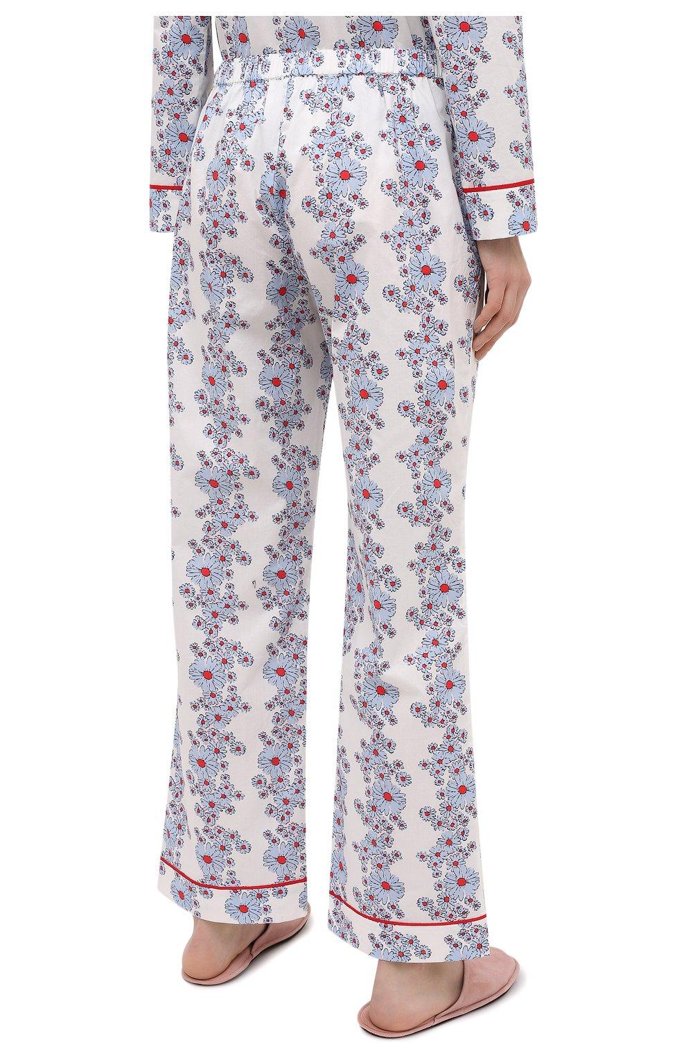 Женская хлопковая пижама YOLKE светло-голубого цвета, арт. SS21-02C-BL-C0   Фото 5 (Рукава: Длинные; Длина Ж (юбки, платья, шорты): Мини; Длина (брюки, джинсы): Стандартные; Длина (для топов): Стандартные; Материал внешний: Хлопок)