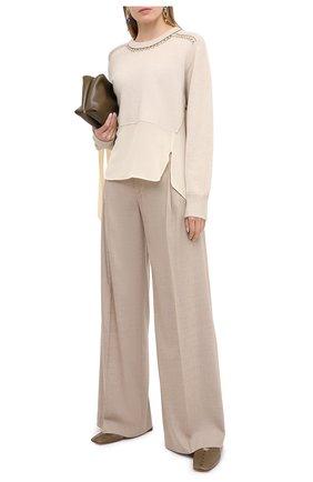 Женские брюки из шерсти и кашемира CHLOÉ бежевого цвета, арт. CHC20WPA10065   Фото 2