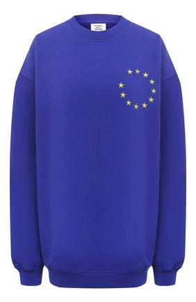 Женская хлопковый свитшот VETEMENTS синего цвета, арт. UE51TR670R 1613/W | Фото 1