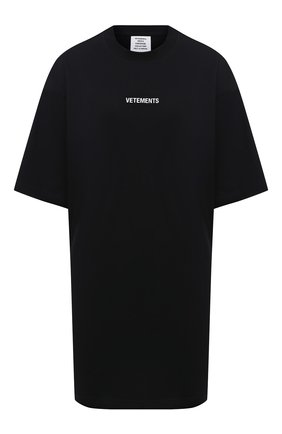 Женская хлопковая футболка VETEMENTS черного цвета, арт. UE51TR540B 1600/W | Фото 1