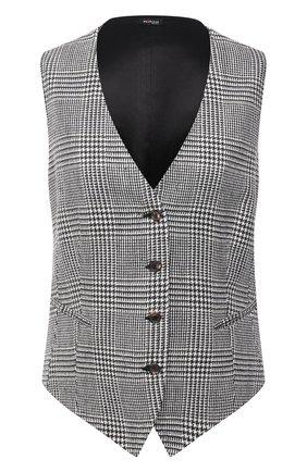 Женский жилет KITON черно-белого цвета, арт. D47456S06304 | Фото 1 (Материал подклада: Шелк; Длина (верхняя одежда): Короткие; Материал внешний: Шелк, Шерсть; Стили: Классический)