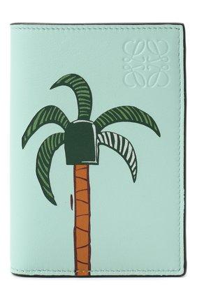 Женский кожаный футляр для кредитных карт LOEWE бирюзового цвета, арт. C643075X02   Фото 1