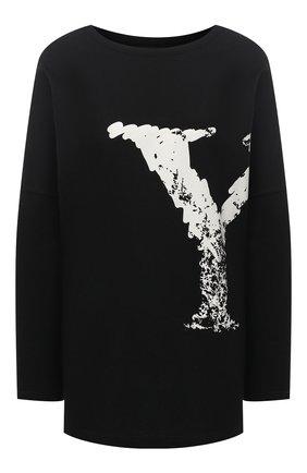 Женская хлопковый лонгслив YOHJI YAMAMOTO черного цвета, арт. NR-T61-077 | Фото 1