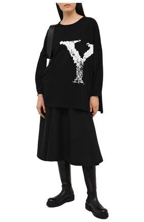 Женская хлопковый лонгслив YOHJI YAMAMOTO черного цвета, арт. NR-T61-077 | Фото 2