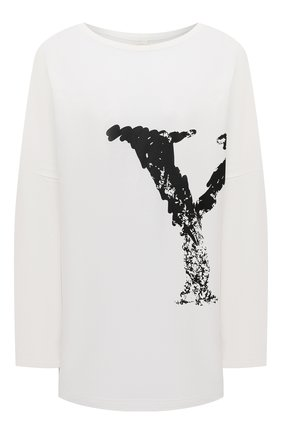 Женская хлопковый лонгслив YOHJI YAMAMOTO белого цвета, арт. NR-T61-077 | Фото 1